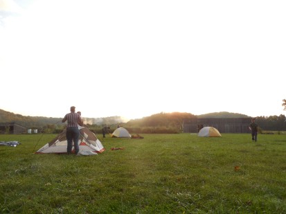 our encampment at Cedar Creek Vineyard